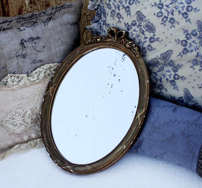 Antique Muted Gold Gilt Barbola Oval Mirror-