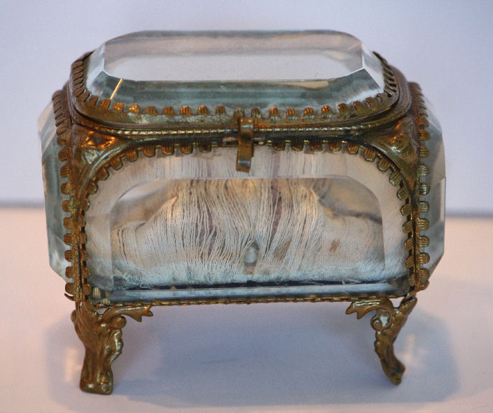 Incredible Antique BEVELED GLASS Gold Oval Casket-