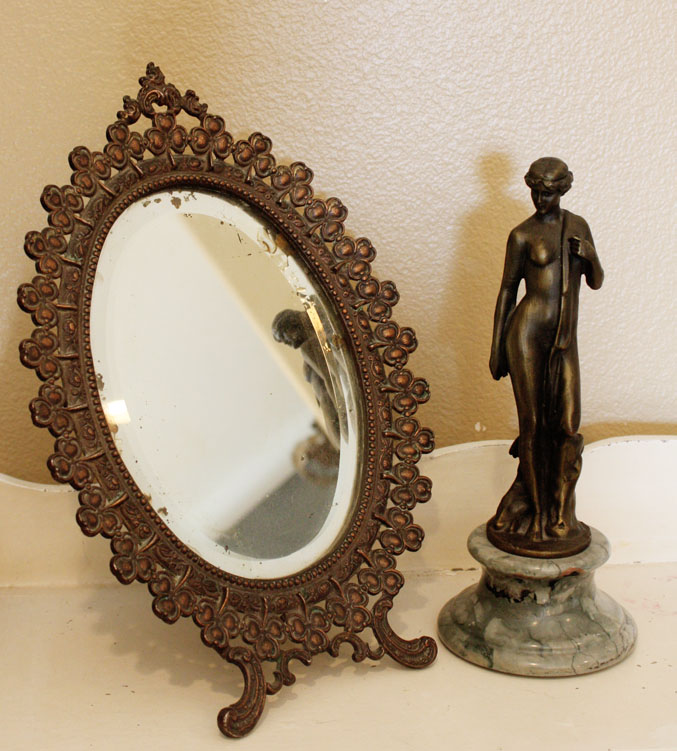 Late 1800s Antique Beveled Table Top Mirror