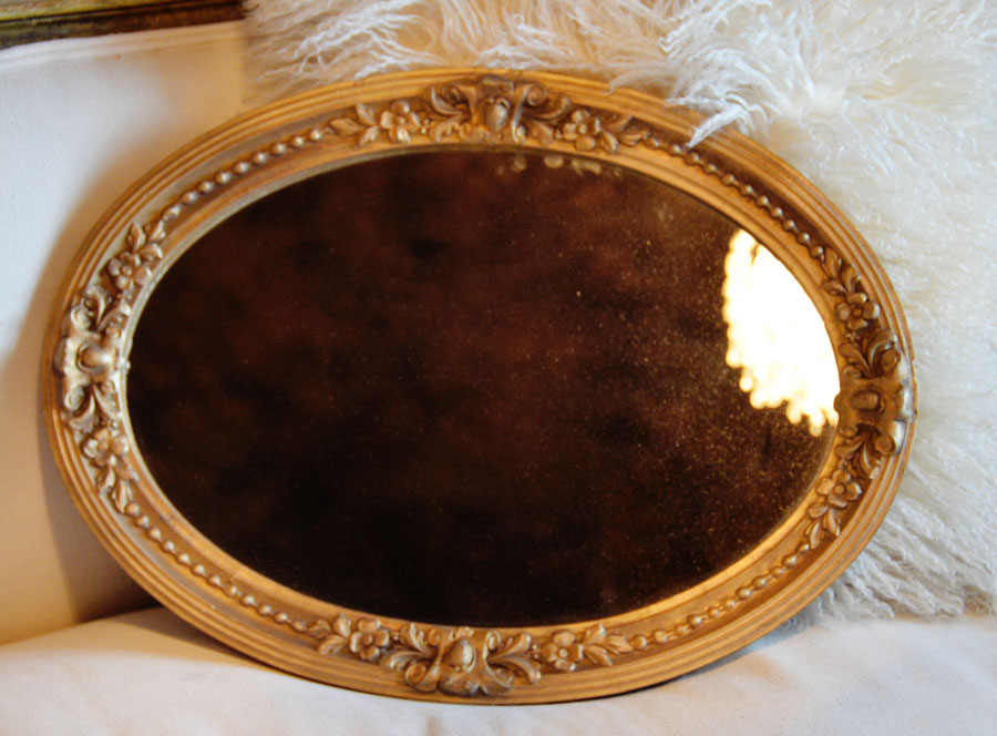 Antique French Barbola Oval Gilt Mirror-