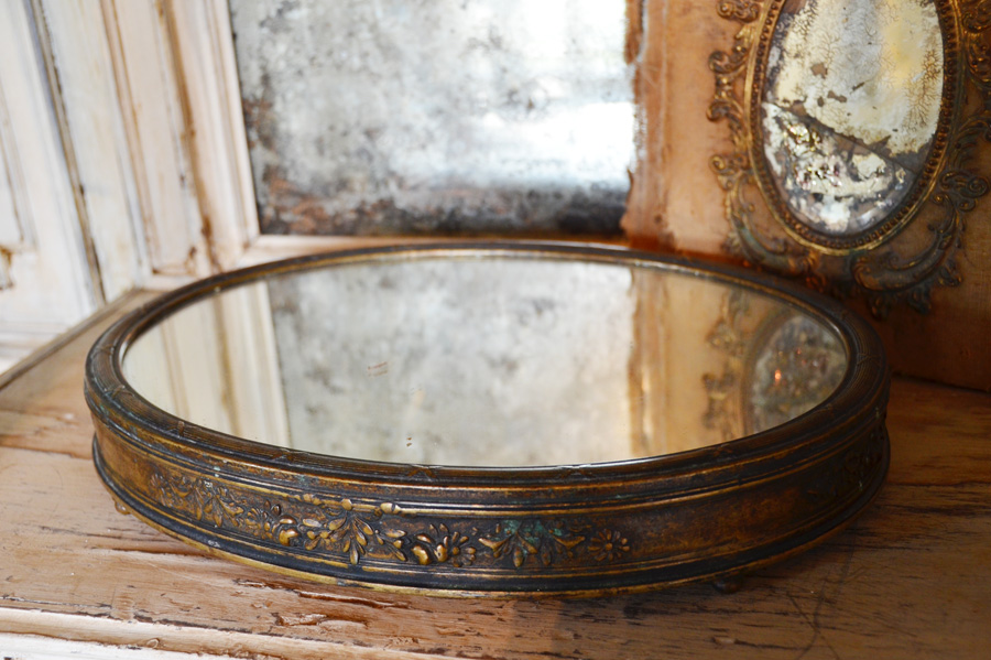 Victorian Antique Barbola Rare Oval Plateau Mirror-