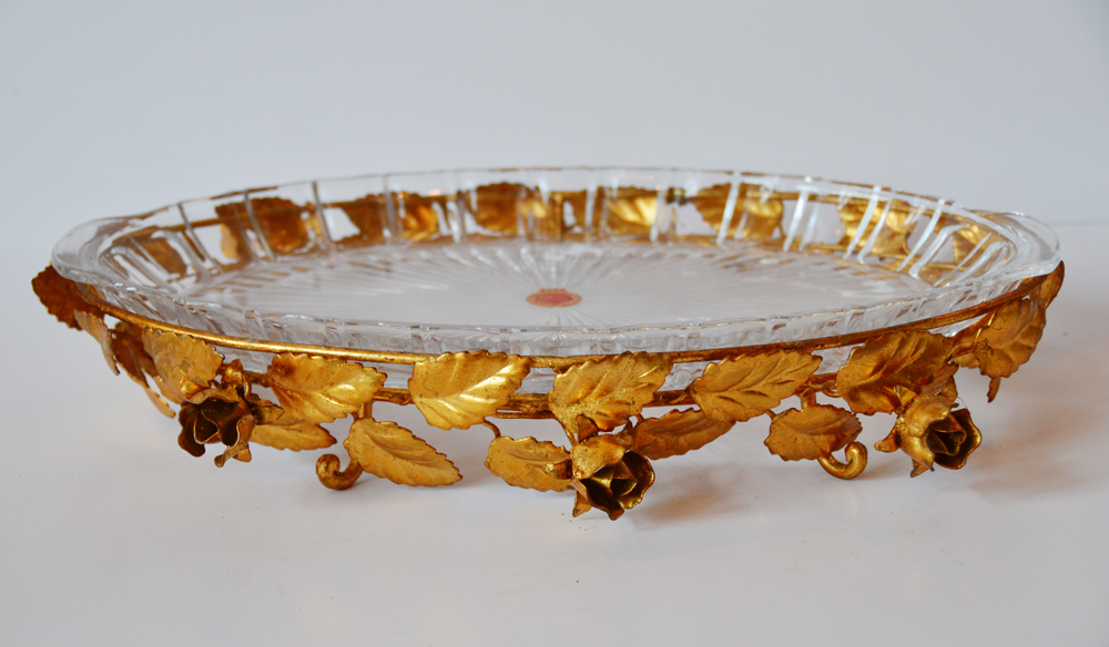 Antique Italian Tole Gilt Rose Cut Crystal Serving Dish-
