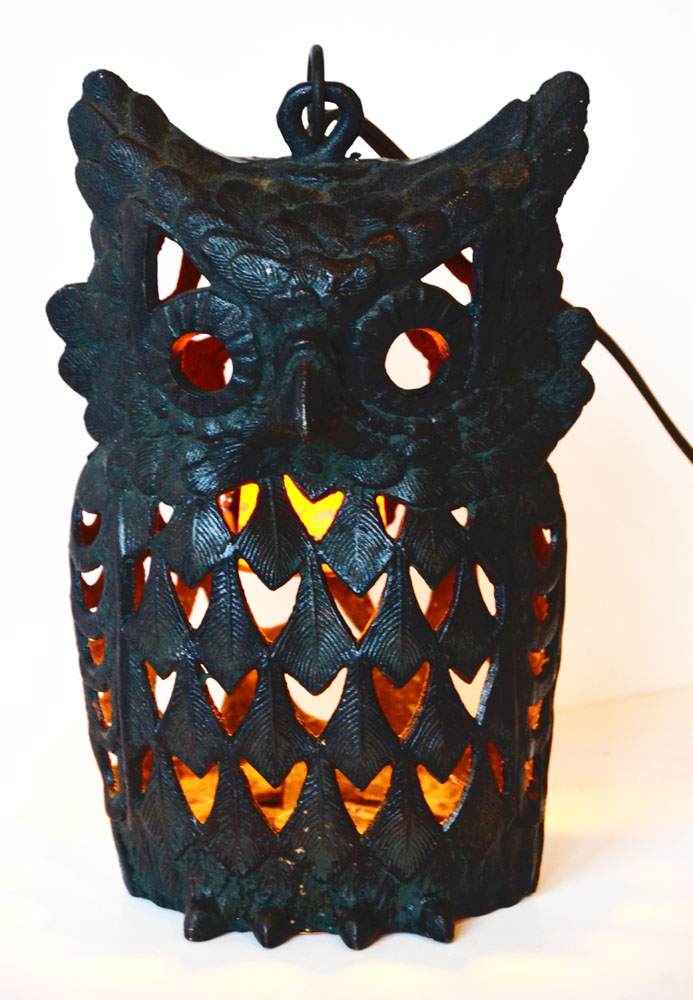 Antique 1930s Rare Cast Iron Figural Owl Table/Hanging Lamp-