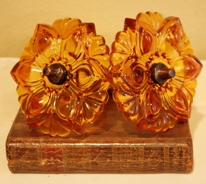 Pair Amber Glass Rosette Tie-Backs Xlrg