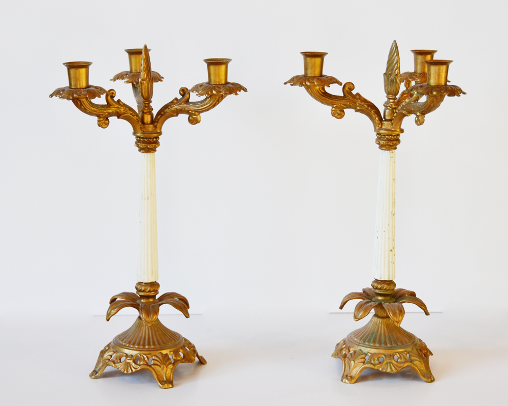 Pair Antique Original Gilt & Paint Candelabra Candlesticks-