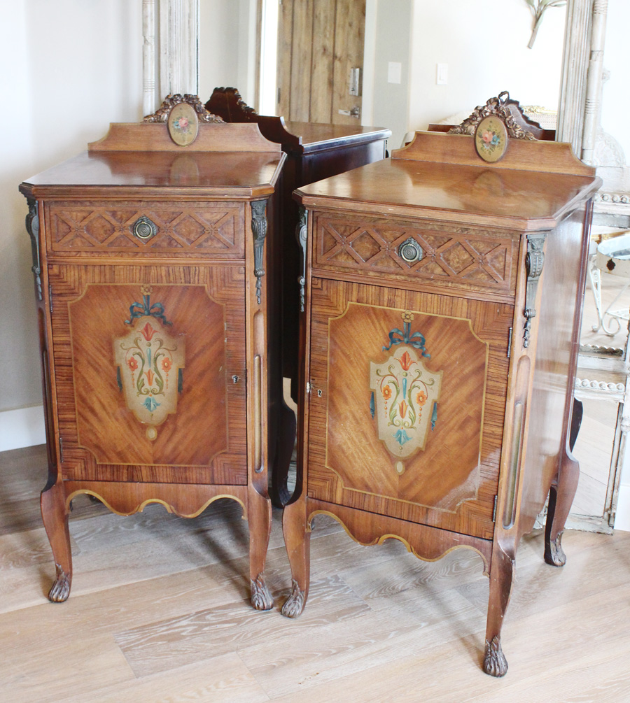 Antique Pair French Music/Night Stands Gorgeous Bronze & Handpainted Details