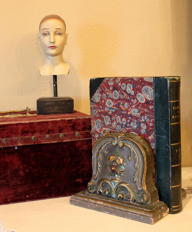 Pair Antique French Carved Barbola Bookends