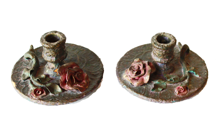 Pair French Antique Barbola Rose Candlesticks-