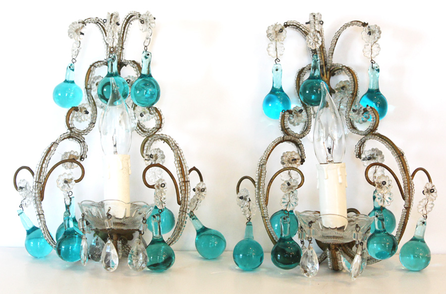 Rare Pair Antique Italian Aqua Beaded Wall Sconces