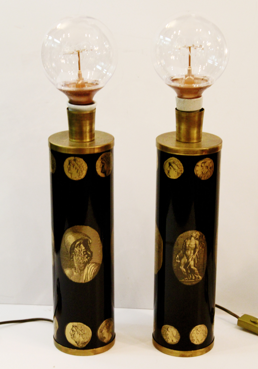 Rare Pair 1960 Piero Fornasetti Cameo Table Lamps