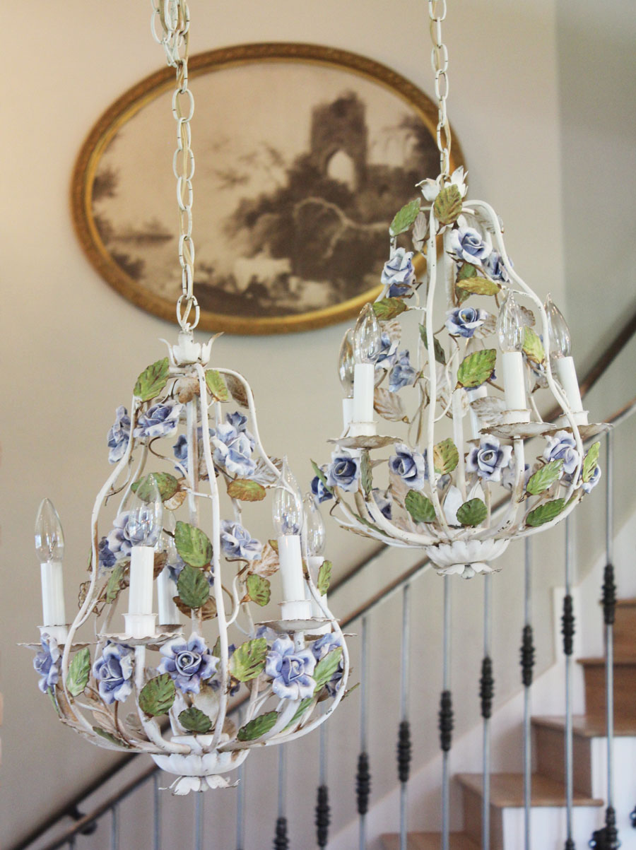 Antique Pair Italian Tole Blue Porcelain Flowers Roses Chandelier