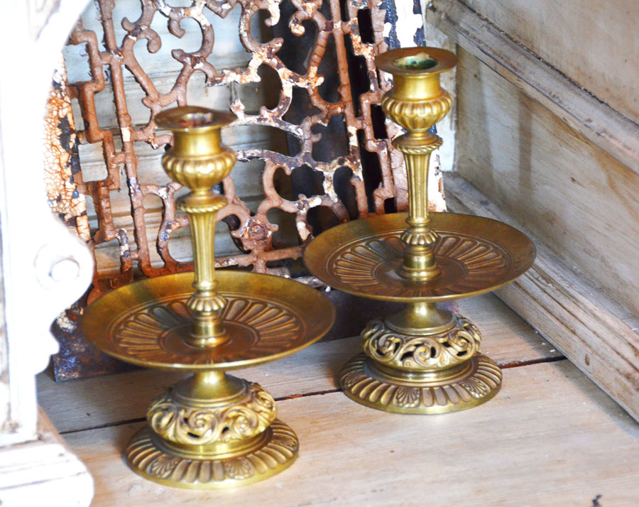 Pair French Antique Brass Candlesticks-