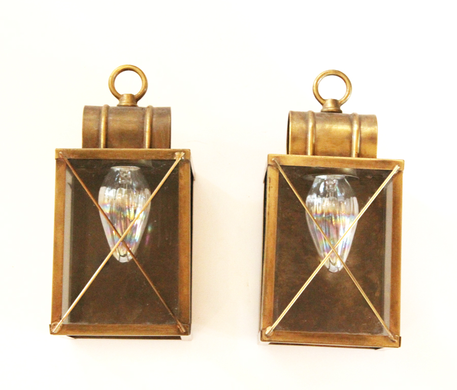 Pair Antique Brass Wall Lanterns