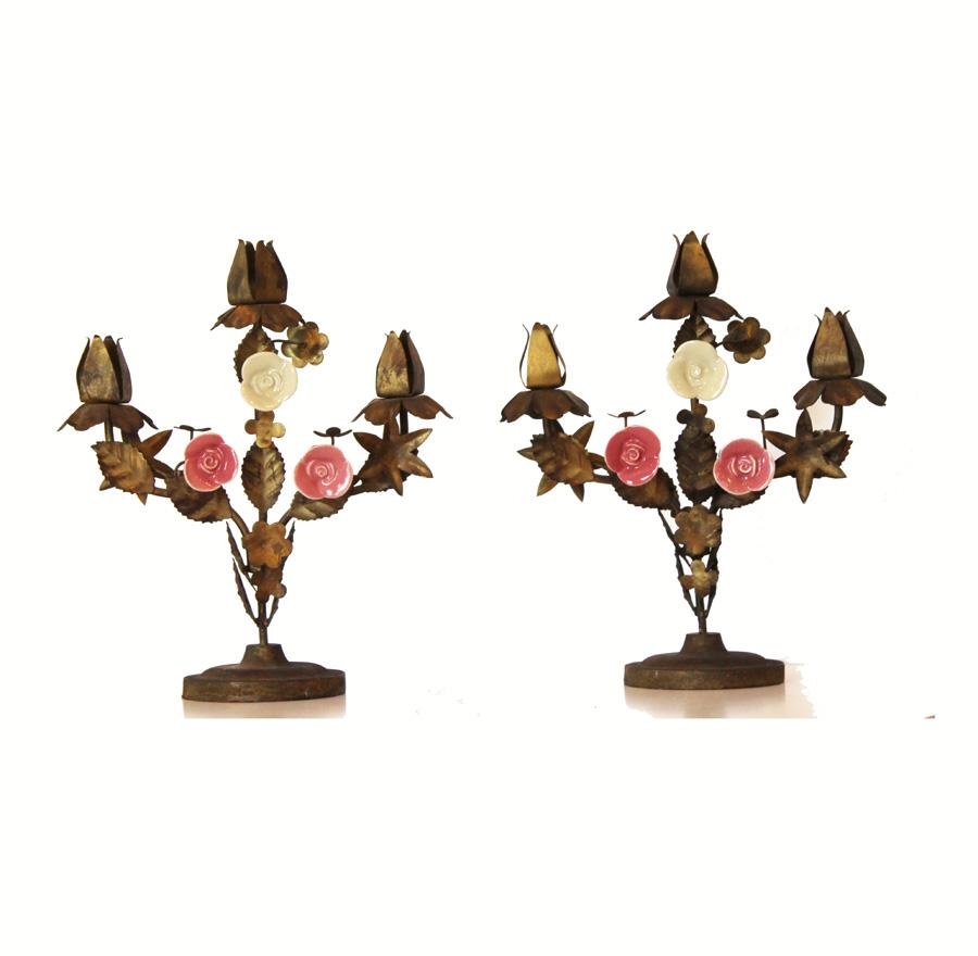 Pair Vintage Tole Candelabras Gilt w/Porcelain Flowers
