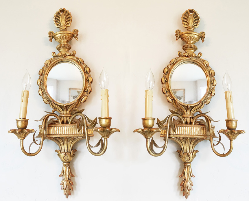 MIrrored Vintage Electric Wall Sconces Beautiful Tole Metal Details
