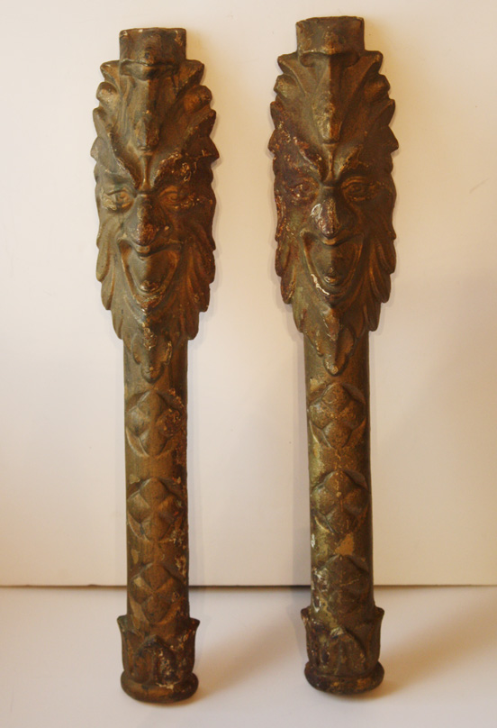 Pair Cast Iron Figural Theater Wall Sconces 1890s-