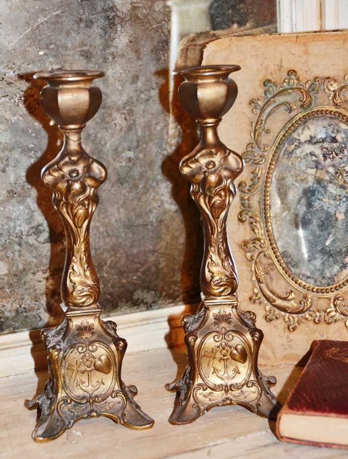 Pair French Antique Alter Candelsticks Figural Bleeding Heart