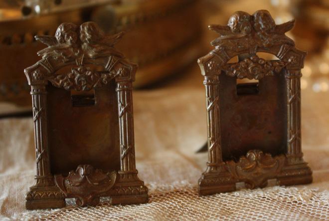 2 French Flea Market Antique Miniature Cherub Picture Frame
