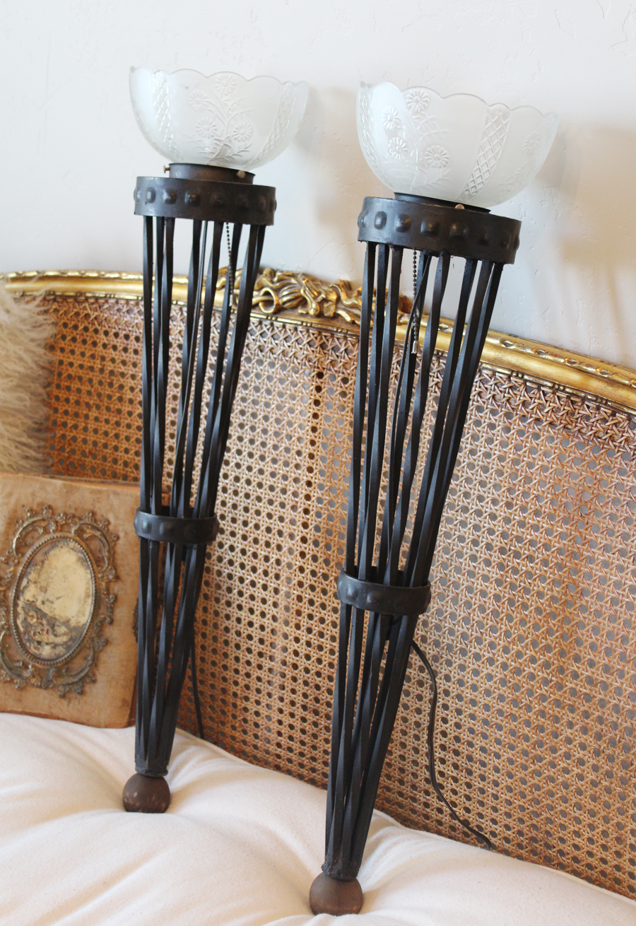Antique Pair French Wrought Iron Torchiere Wall Sconces