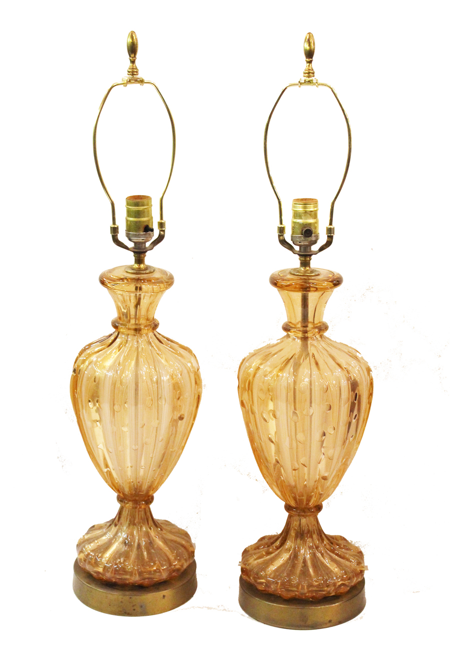 Antique Pair Barovier & Toso Murano Blown Glass Lamps