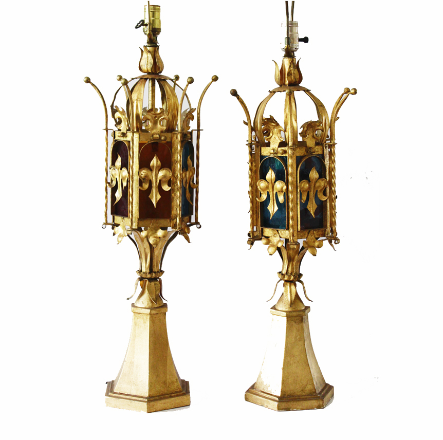 Pair Crown Italian Tole Table Lamps w/Stain Glass