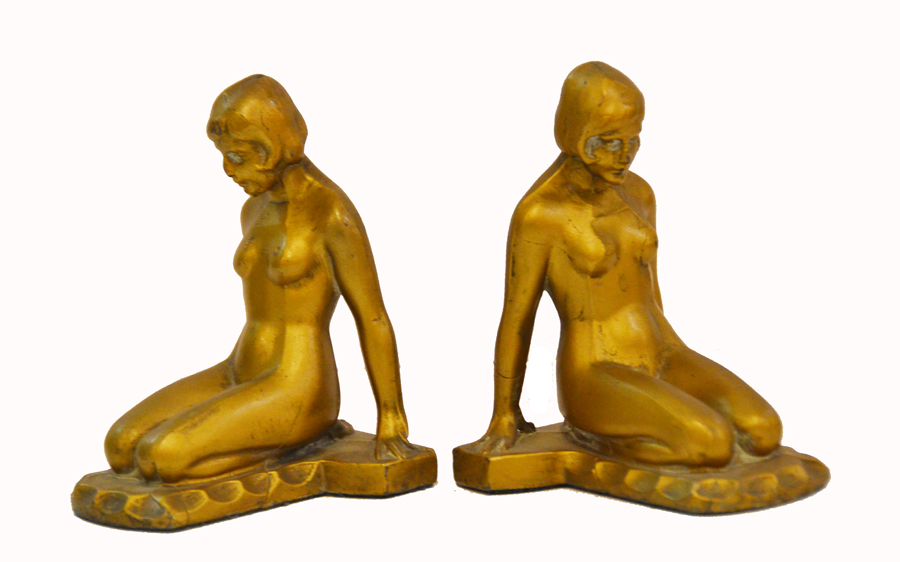 Pair Nude Bookends Nuart American Art Deco-