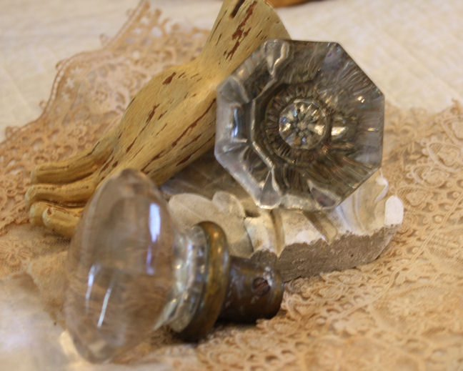 Pair 1800s Mercury Glass/Crystal Door Knobs-