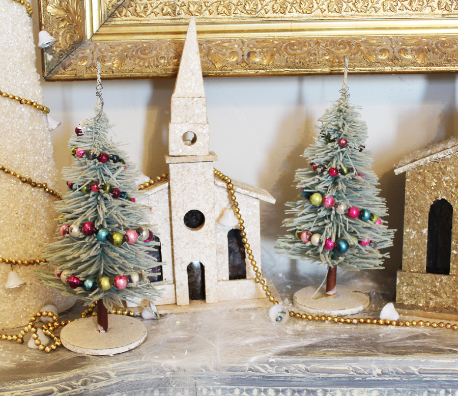 The Best! Antique Pair Flocked Bottle Brush Christmas Trees