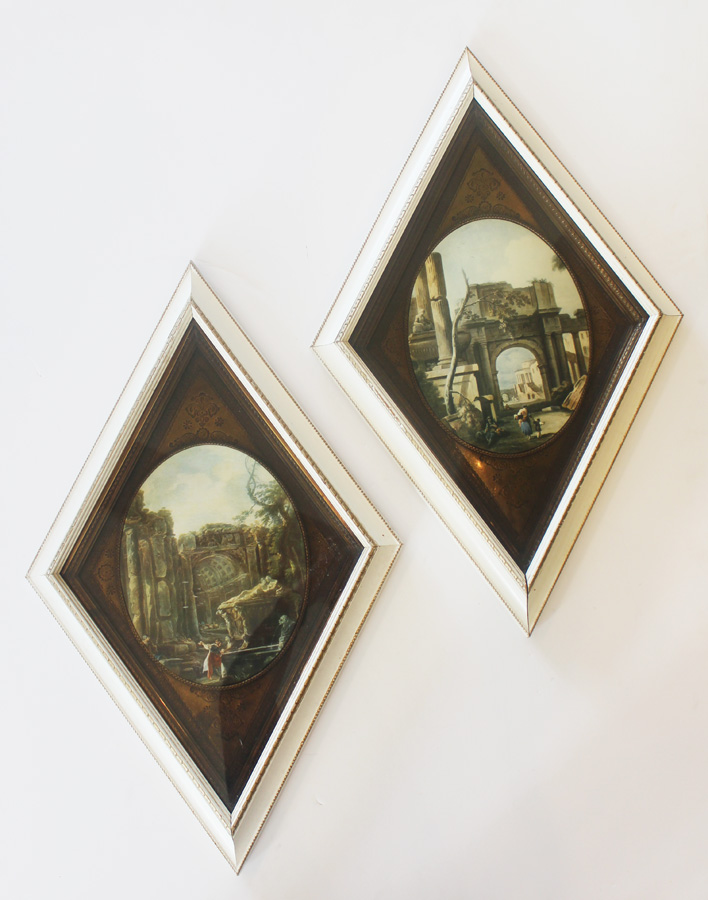 Pair Framed Vintage Landscape European Prints