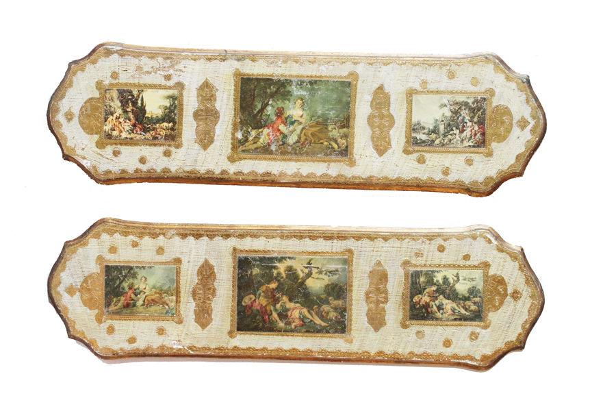 Pair Italian Florentine Landscape Wall Hangings-