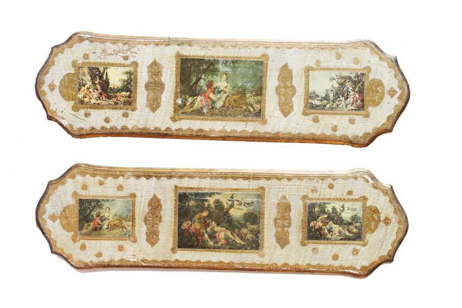 Pair Italian Florentine Landscape Wall Hangings