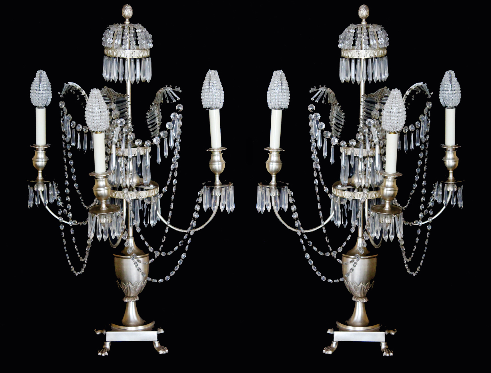 1920s Incredible Pair French Beaded Girandole Candelabra Lamps