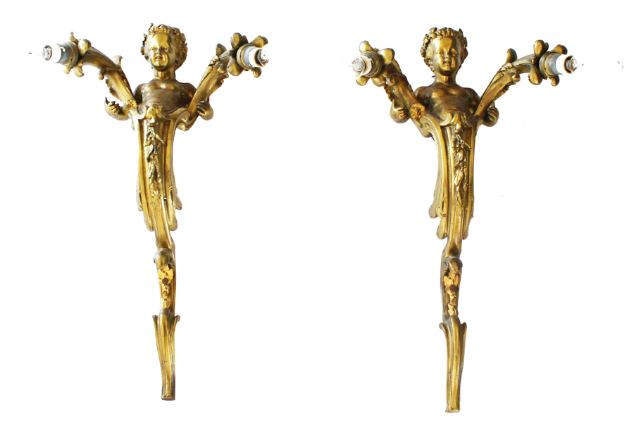 French Pair Bronze Doir Antique Cherub Electric Wall Sconces-