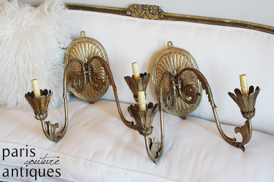 Rare Pair Antique French Gilt Metal Xlrg Wall Sconces
