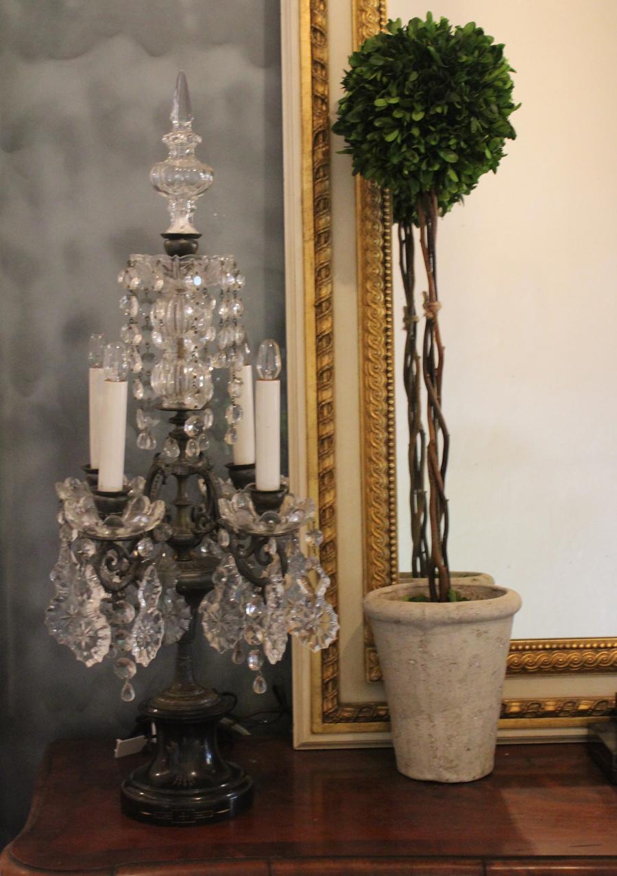1850s Impressive French Pair Crystal Girandole Electric Candelabras-