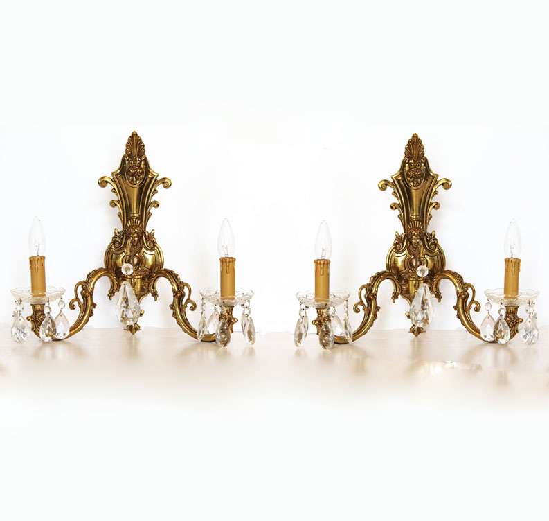 Incredible Pair Brass 2 Arm Wall Sconces Figural