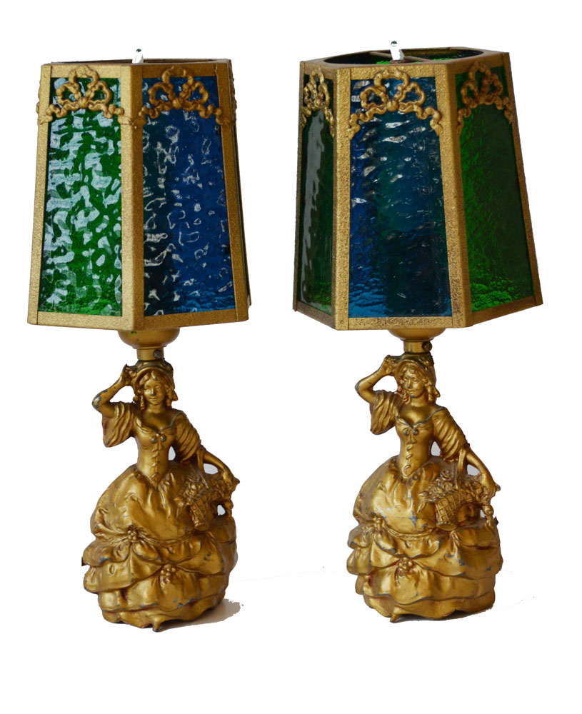 Pair French Figural Glass Shade Lamps Incredible