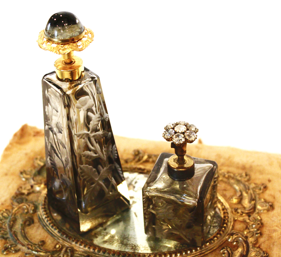 Pair Antique Grey Glass Etched Jeweled Perfume Bottles