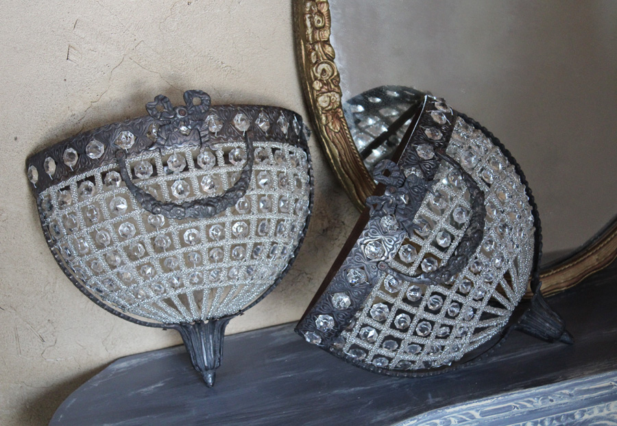 Pair Large French Empire Basket Beaded Sconces-