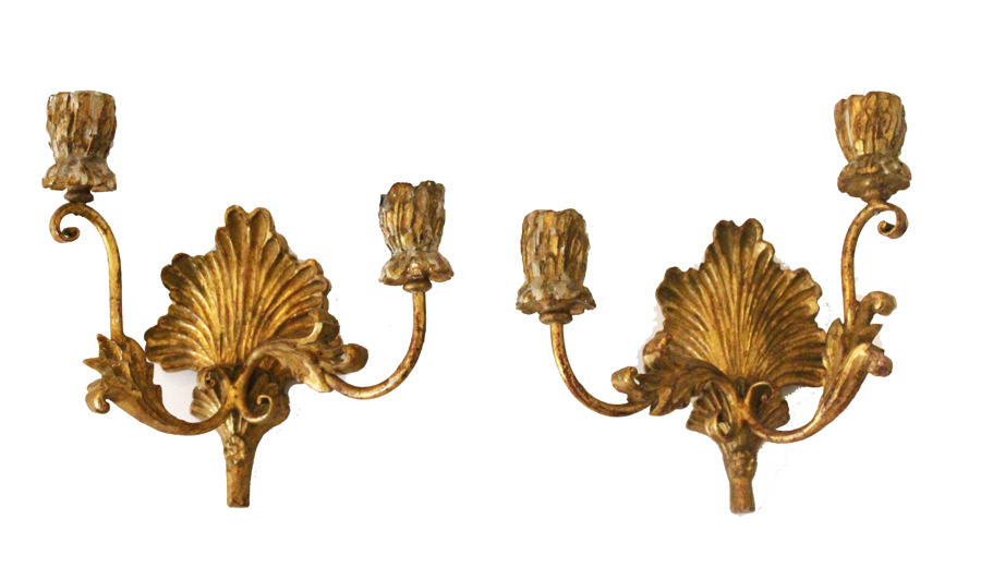 Pair Antique Italian Florentine HandCarved Wood Wall Sconces-