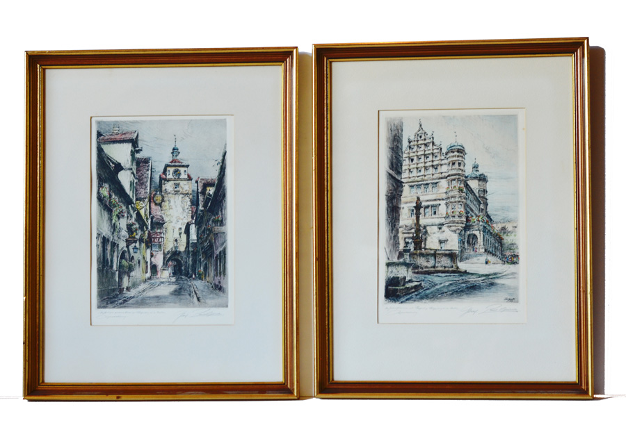 Pair Handtinted & Signed Etchings Paul Geissler 1919