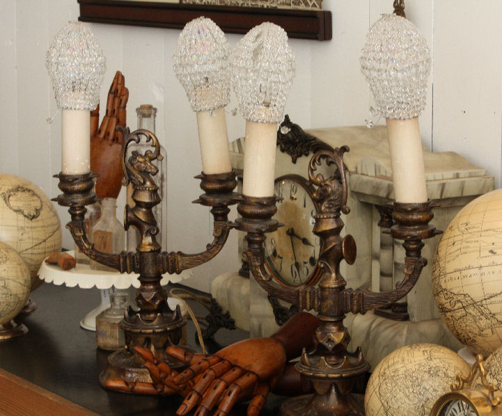 Rare Pair ANTIQUE BRONZE Candlebra Lamps Figural & Gorgeous