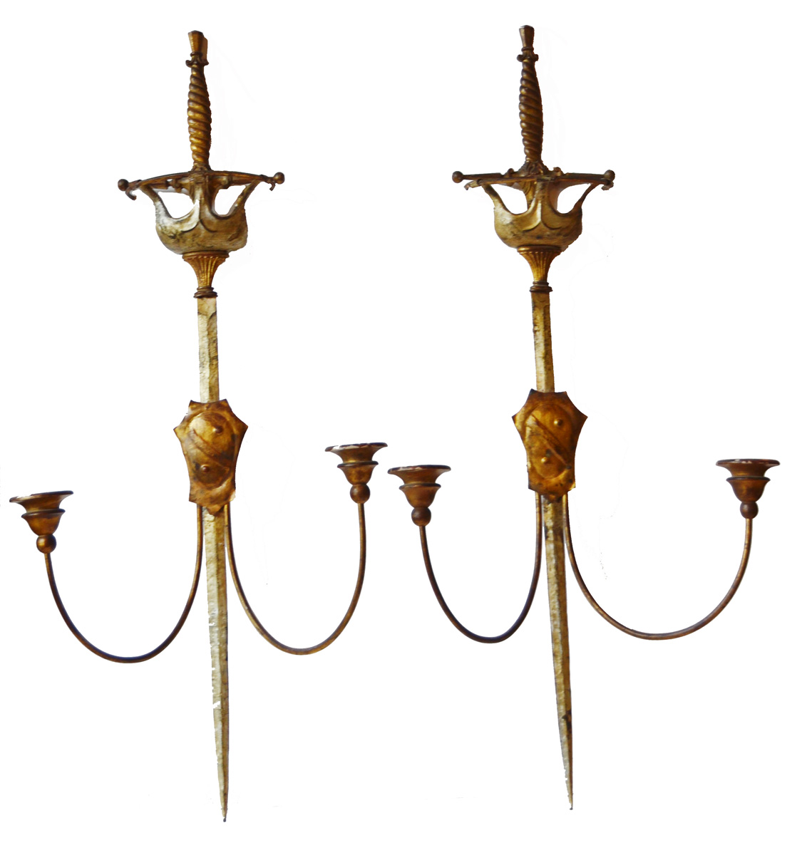 Reserved-Rare Antique Pair Italian Gilt Sword Wall Sconces-