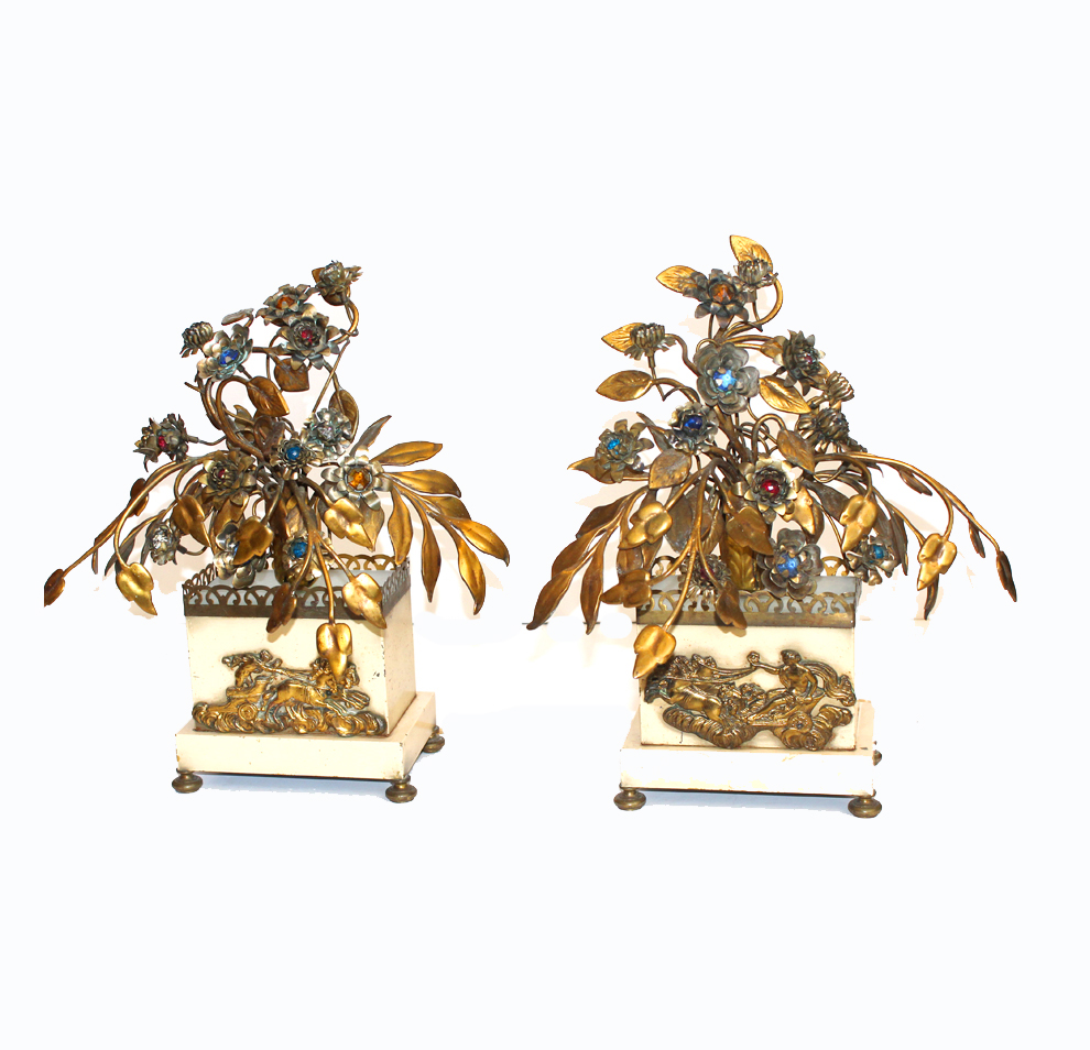 Pair French Antique Jeweled Tole Floral Figural Lamps-