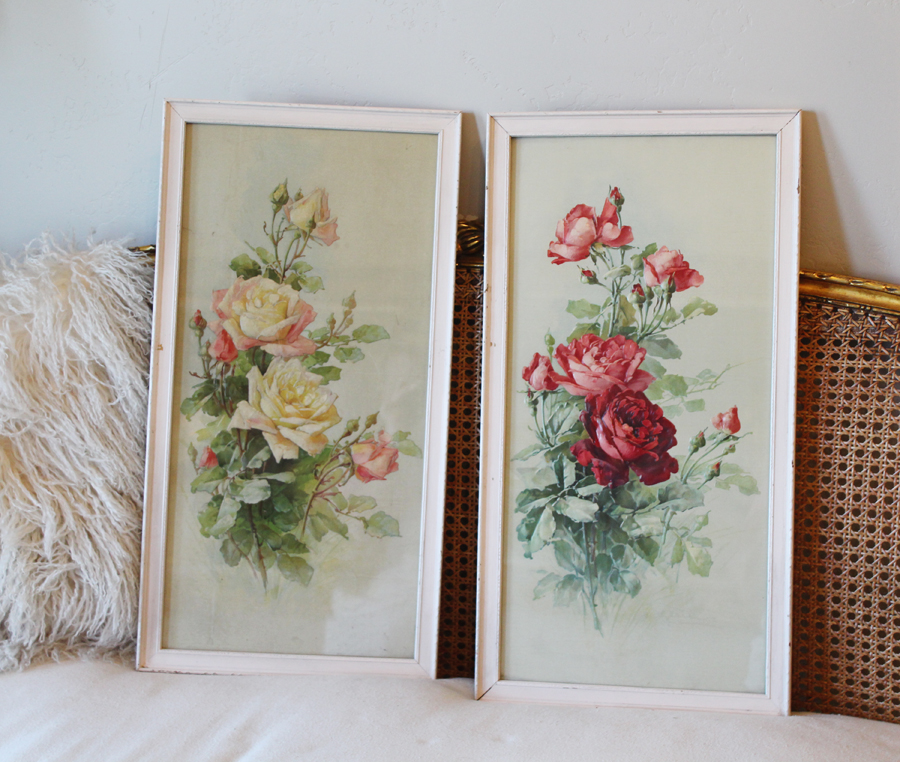 Antique Pair Roses Original Framed Raised LIthographs