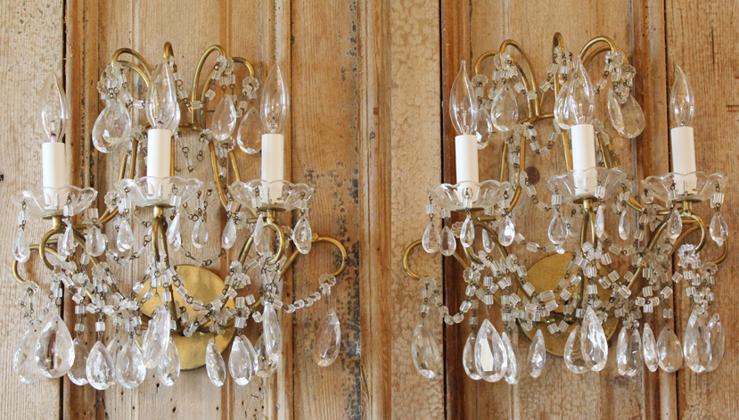 Breathtaking Antique Pair Macaroni 3 Arm Beaded Wall Sconces Early 1920s