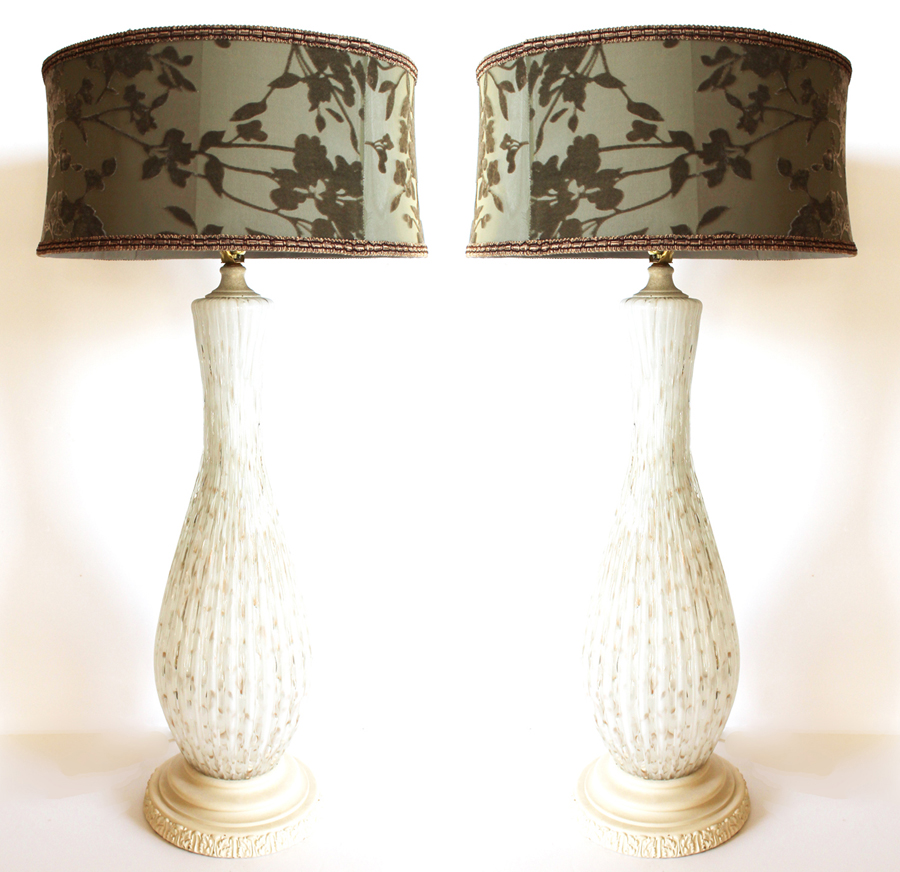 Pair Antique Murano Barovier & Toso Lamps White Glass-