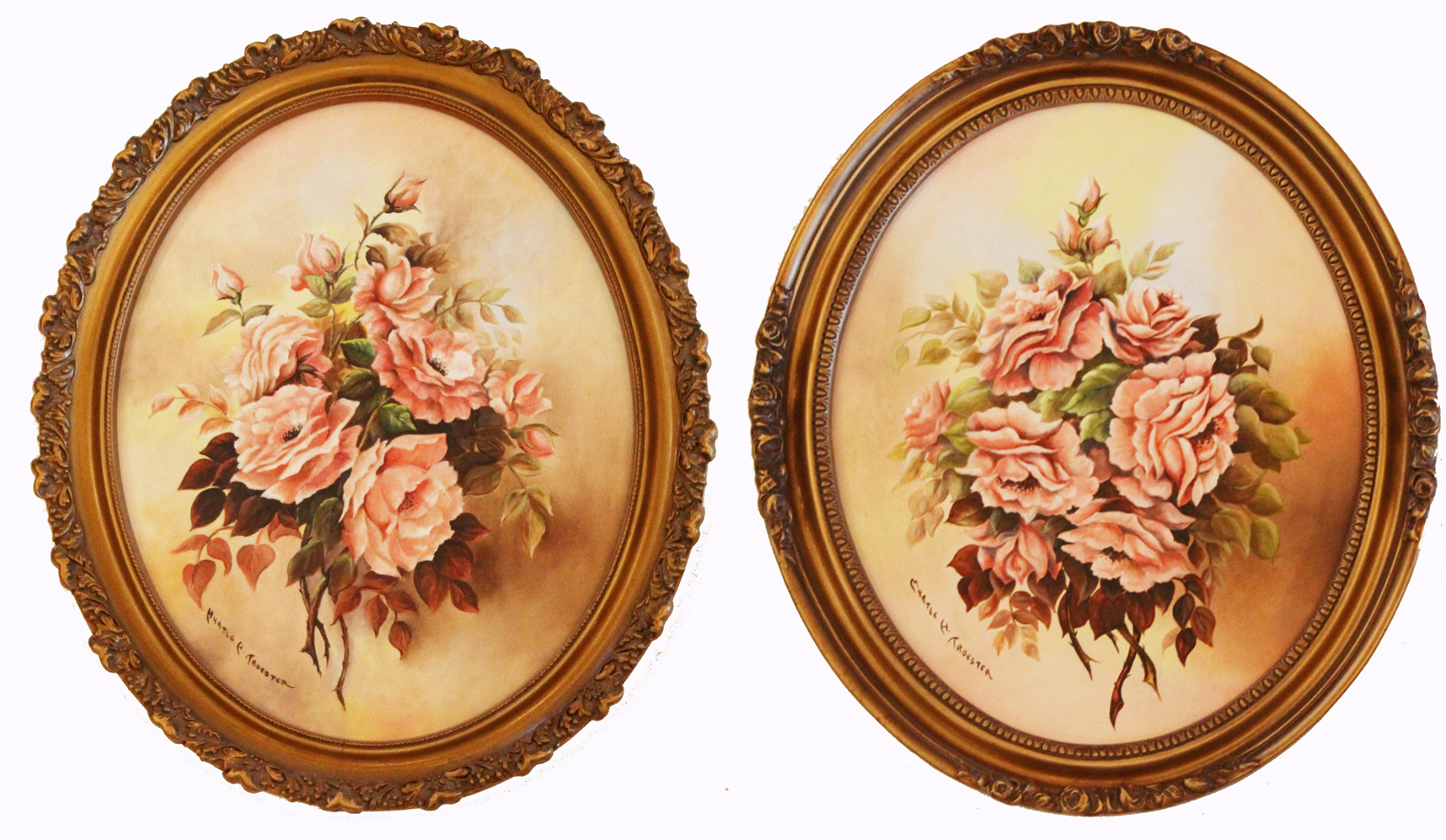 Pair Antique Beautiful Oval Roses Floral Oil Paintings Original Frames