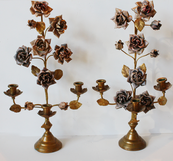 French Antique Pair Girandole Rose Candelabras-