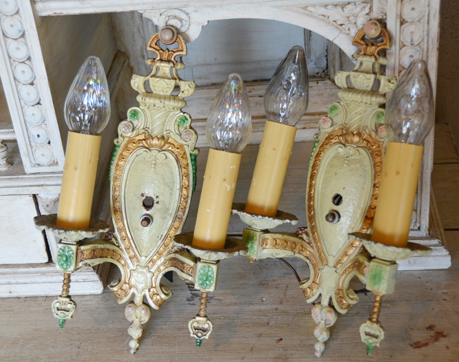 Pair Antique Painted 2 Arm Metal Wall Sconces Electric-